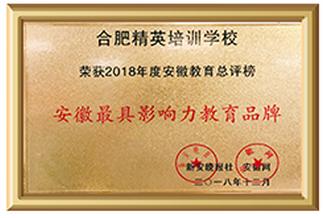 2018年安徽最具影响力教育品牌